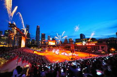 I fuochi d'artificio video durante il NDP 2010 Fotografia Stock