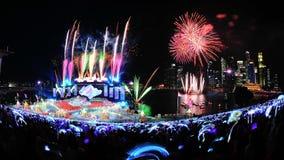 I fuochi d'artificio video durante il NDP 2012 Fotografia Stock