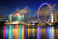 I fuochi d'artificio video durante la parata di giorno nazionale Fotografie Stock