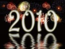I fuochi d'artificio video sopra l'acqua Immagine Stock