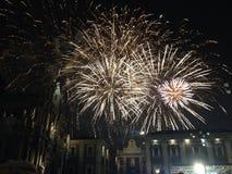 I fuochi d'artificio visualizzano alla notte Fotografia Stock