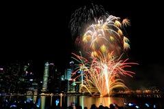 I fuochi d'artificio visualizzano durante la parata di festa nazionale (NDP) 2013 Immagine Stock Libera da Diritti
