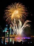 I fuochi d'artificio visualizzano durante la parata di festa nazionale (NDP) 2013 a Singapore Immagine Stock Libera da Diritti