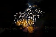 I fuochi d'artificio visualizzano sul fondo scuro del cielo Immagine Stock Libera da Diritti