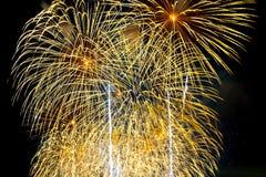 I fuochi d'artificio visualizzano sul fondo scuro del cielo Fotografia Stock