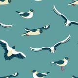 I gabbiani Modello senza cuciture con gli uccelli di mare nello stile del piano Immagine Stock