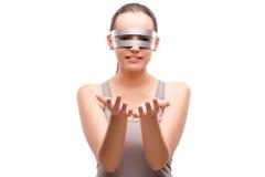 I gands techni della tenuta della ragazza isolati su bianco Fotografia Stock Libera da Diritti