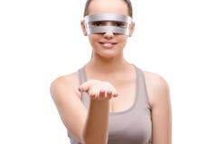 I gands techni della tenuta della ragazza isolati su bianco Fotografie Stock Libere da Diritti