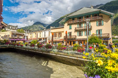 I gatorna av Chamonix Arkivfoton