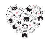 I gatti amano, raccolta delle icone di vettore, illustrazioni disegnate a mano con cuore Fotografia Stock