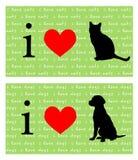 I gatti e cani del cuore Fotografia Stock
