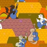 I gatti legano il chitarrista che gioca sul tetto alla notte Immagine Stock