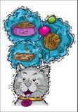 I gatti pensano ai giocattoli dell'alimento nei sogni Immagine Stock