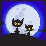 I gatti si siedono su una radura Fotografia Stock Libera da Diritti