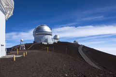 I Gemelli e gli osservatori infrarossi del Regno Unito in cima al volc di Mauna Kea Immagine Stock Libera da Diritti
