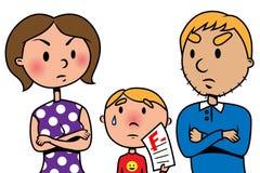 I genitori arrabbiati al loro bambino a causa della prova vengono a mancare Immagine Stock Libera da Diritti