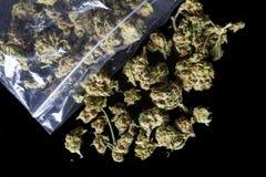 I germogli medici della cannabis hanno sparso dal pacchetto sul nero da sopra Fotografia Stock Libera da Diritti