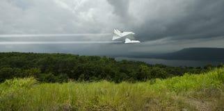 I getti bianchi pilotano l'alta velocità attraverso la tempesta piovosa sopra la foresta Fotografia Stock