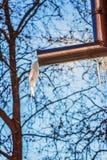 I ghiaccioli si fondono dal tetto delle costruzioni fotografia stock
