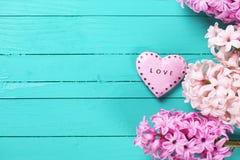 I giacinti freschi ed il cuore decorativo con la parola amano su sopra Fotografia Stock Libera da Diritti