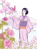 I giapponesi abbelliscono con il monte Fuji, mare, donna giapponese in un Kim illustrazione vettoriale