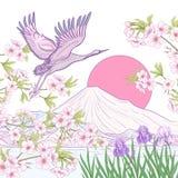 I giapponesi multicolori dell'illustrazione abbelliscono con il monte Fuji e la t illustrazione vettoriale