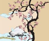 I giapponesi progettano con la montagna di Fuji e l'albero di Sakua. Immagine Stock