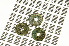 I Ging, Chinese divination with coins. And hexagrams Stock Photos