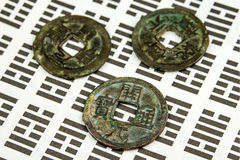 I Ging, Chinese divination with coins Stock Image