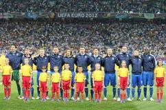 I giocatori della squadra di football americano dell'Italia cantano l'inno nazionale Immagini Stock Libere da Diritti