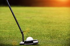 I giocatori di golf stanno mettendo il golf nel campo da golf di sera Fotografie Stock Libere da Diritti