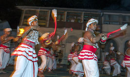 I giocatori di Udekki eseguono al Esala Perahera a Kandy, Sri Lanka Fotografia Stock Libera da Diritti