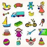 I giocattoli di vari bambini Illustrazione di Stock