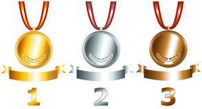 I giochi dell'oro, dell'argento e del bronzo hanno collegato l'insieme Fotografia Stock Libera da Diritti