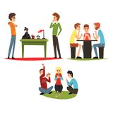 I giochi della Tabella hanno messo, il gioco degli amici giochi da tavolo royalty illustrazione gratis