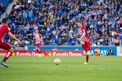 I giochi di Gabi alla La Liga abbinano fra il RCD Espanyol ed Atletico de Madri Immagini Stock Libere da Diritti