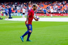 I giochi di Leo Messi alla La Liga abbinano fra il Valencia CF ed il FC Barcelona Fotografia Stock