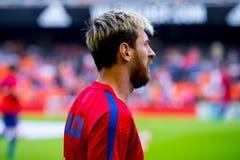 I giochi di Leo Messi alla La Liga abbinano fra il Valencia CF ed il FC Barcelona a Mestalla Immagini Stock