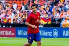 I giochi di Luis Suarez alla La Liga abbinano fra il Valencia CF ed il FC Barcelona Fotografia Stock Libera da Diritti