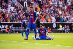 I giochi di Luis Suarez alla La Liga abbinano fra il Valencia CF ed il FC Barcelona a Mestalla Fotografie Stock Libere da Diritti