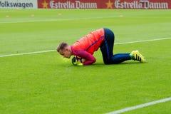 I giochi di Marc Andre Ter Stegen alla La Liga abbinano fra il Valencia CF ed il FC Barcelona Fotografia Stock