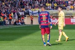I giochi di Neymar alla La Liga abbinano fra il Villarreal CF ed il FC Barcelona Fotografie Stock Libere da Diritti