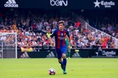 I giochi di Sergi Roberto alla La Liga abbinano fra il Valencia CF ed il FC Barcelona a Mestalla Immagine Stock Libera da Diritti