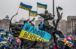 I giorni della protesta di Euromaidan, Kiev fotografia stock libera da diritti