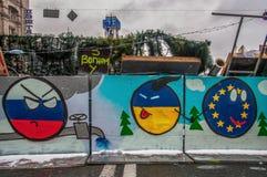 I giorni della protesta di Euromaidan, Kiev immagini stock libere da diritti