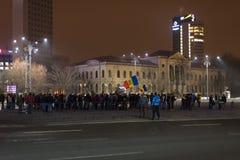 I 14 giorni delle proteste contro il governo in Romania Fotografia Stock