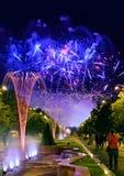I giorni di anniversario di Bucarest, fuochi d'artificio fanno festa e la celebrazione Immagine Stock