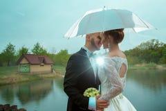 I giovani allegri merried appena le coppie sotto un ombrello Immagine Stock