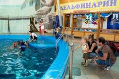 I giovani genitori mostrano al piccolo figlio dei delfini in delphinarium Immagine Stock