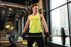 I giovani hanno concentrato l'uomo di forma fisica che fa l'allenamento con il bilanciere pesante Immagine Stock Libera da Diritti